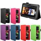 """LEATHER SMART FLIP WALLET STYLE STAND CASE COVER FOR AMAZON KINDLE FIRE HD 7"""""""