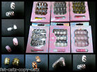 12 FALSE FULL FRENCH NAILS GLUE ANIMAL ZEBRA LEOPARD PRINT GLITTER SPOTTED PINK