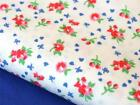 Royal BLUE vintage FLORAL country chic 100% COTTON FABRIC dress craft bunting