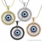 Evil Eye Diamond Pendant Turkish Nazar Greek Charm 925 Sterling Silver Necklace