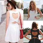 Women party heart cut out open back casual dress size C0008#