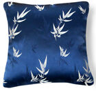 BL044a Silver Bamboo Leaf Blue Rayon Brocade Pillow/Cushion Covere*Custom Size