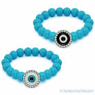 Evil Eye Bead Turkish Nazar Greek Hamsa Kabbalah Charm Beaded Stretch Bracelet