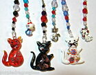 azssorted kitty cat fan light pull rearview mirror charm suncatcher stained glas