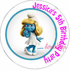 PERSONALISED BIRTHDAY SMURFETTE STICKERS SEALS GIFT FAVOURS INVITES KIDCS18