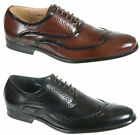 New Mens Lace Up Leather Lining Brogue Shoes Black Brown Smart Office Casual