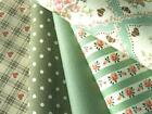 Vintage Green floral stripe spots PURE COTTON FQ or METER quitling patchwork