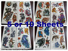 5 or 10 SHEETS BOYS ANGRY TIGER WOLF PREDATOR TEMPORARY TATTOOS PARTY LOOT BAG