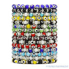 Evil Eye 6mm Glass Turkish Nazar Hamsa Judaica Kabbalah Beaded Stretch Bracelet