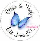 PERSONALISED WEDDING DAY BLUE BUTTERFLY STICKER SEAL GIFT FAVOUR INVITES WDSC2