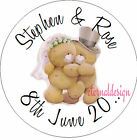 PERSONALISED WEDDING DAY BRIDE&GROOM BEAR STICKER SEAL GIFT FAVOUR INVITES WDSC7
