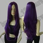 32in. Heat Resistant No-Bangs Dark Purple Big Wavy Cosplay Wig Free Shipping 72A