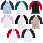 New BELLA CANVAS Womens Ladies 3/4 Sleeve Contrast Baseball T Shirt 8 Colours