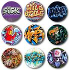 "GRAFFITI  (Various Designs) - 1"" / 25mm Button Badge - Hip Hop Banksy Street"