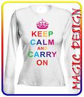 T-SHIRT KEEP CALM AND CARRY ON GYRL CON CORONA PER DONNA SAGOMATA MANICA LUNGA