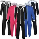 KIDS 1ONESIE1 UNISEX BOYS GIRLS HOODED ZIP ALL IN ONE PLAIN JUMPSUIT COMFY