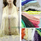 Sexy Thin Long Floral Lace Sheer Triangle Scarf Fun Tassel Neck Tie Headwrap New