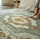 French Country Victorian Floral Green Beige Living Bedroom Floor Mat Rug Carpet