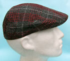 Flat Cap Grey Black Red White Chequered Tartan Pattern