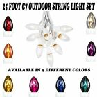 25 Foot C7 Outdoor Christmas String Light Set - White Wire - 25 Bulb Set