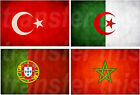TURKISH ALGERIAN PORTUGUESE MOROCCAN FLAG IRON ON TSHIRT TRANSFER OR STICKER