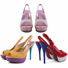 NEW LADIES COLOURFUL HIGH STILETTO HEEL PLATFORM SLINGBACK SANDALS PARTY SHOES