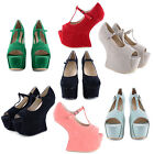NEW LADIES GAGA HEEL LESS MARY JANE T BAR BUCKLE PLATFORM PARTY CLUBBING SHOES