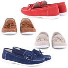 NEW LADIES CASUAL FLAT COMFY SLIP ON MOCCASINS PUMPS FRINGED SHOES FAUX SUEDE