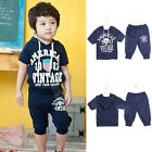 Casual Boys Kids Cute Outfits Short Sleeve Hooded Shirt Pants Trousers Hot 1Gb
