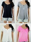 NWT HOLLISTER Women's T Shirt Henley Easy Fit By Abercrombie