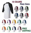 New! Augusta ¾ Sleeve Baseball Jersey T-Shirt 3/4 Raglan Tee Team Sports 420 S-L
