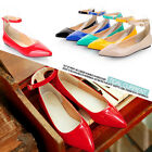 Ladies Womens Patent Pointed Toe Ankle Strap Flat Casual Shoes Plus Size #DZ117