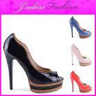 NEW LADIES STRIPED STILETTO HIGH HEEL  PEEP TOE  PLATFORM COURT SHOES UK 3-8