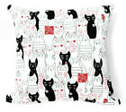 AL209a Red Black Off White Cat Cotton Canvas Cushion Cover/Pillow *Custom Size