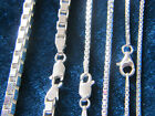 Solid .925 Sterling Silver Box Chain Necklace 0.8mm,1mm,1.4mm,1.5mm,2mm,3.8mm