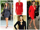 Celeb Inspired Long Sleeve Keyhole Bodycon Dress With Gold Bar Size S/M/L/XL UK