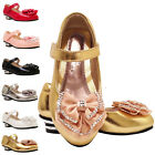 Girls Kids Children Party Diamante lovely wedding Metal Heels Velcro Shoes sz7-3