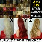 Half WIG Long Curly Wavy 3/4 wig fall Hair Piece Burgundy Ginger Ash Pale Blonde