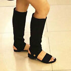 Womens Cut Out Knee Sandals Long Boots Black 8007#