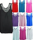 New Womens Ladies Plus Size Sleeveless Beaded Stud Long Top Vest T-Shirts 14 -28