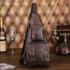 Men's Genuine Leather Vintage Travel Hiking Messenger Shoulder Sling Chest Bag