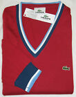 LACOSTE MEN'S FINE RIBBED 100% COTTON V-NECK SWEATER IN RED - 7 / XL