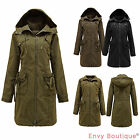 LADIES WOMENS HOODED WASHED THICK COTTON CORD MILITARY PARKA COAT JACKET 10-18