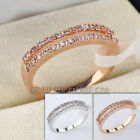 E2-R001 Fashion CZ Band 18K GP Ring Pave Prong-set