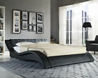Double King Size Black White Bed Frame and with Memory Foam Mattress 4FT6 5FT