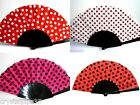 New Spanish Flamenco Fabric Polka Dot Dance Fan - Choice of 4 Colour Ways