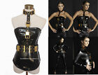 Black Leather Punk Halloween Gold Costume harness Belt  Brass Buckle Studded