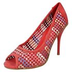 LADIES SPOT ON CORAL - Multi coloured Woven effect - PEEP TOE COURT SHOE- F1926
