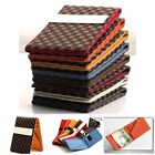 Mens Checker Pattern Leather and Suede Money Clip Wallet Business Card Holder