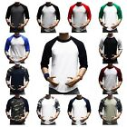 3/4 Sleeve Plain T-Shirt Lot Baseball Raglan Jersey Sports Fashion Casual Tee